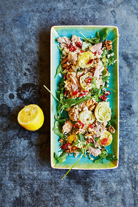 couscoussalat-frisch-artischocken-thunfisch-platte