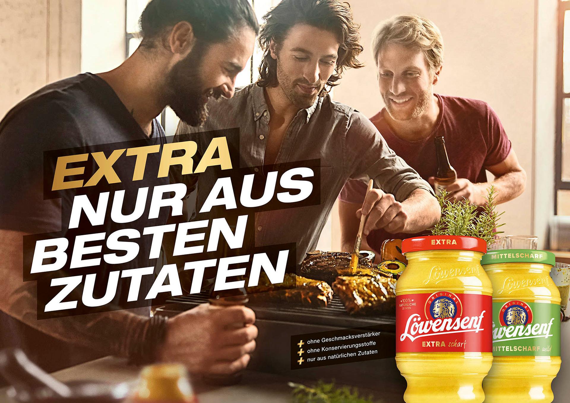 maenner-grillen-steak-loewensenf-kampagne