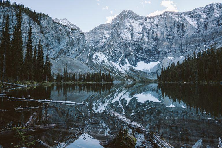 see-spiegelung-klar-berge-wald